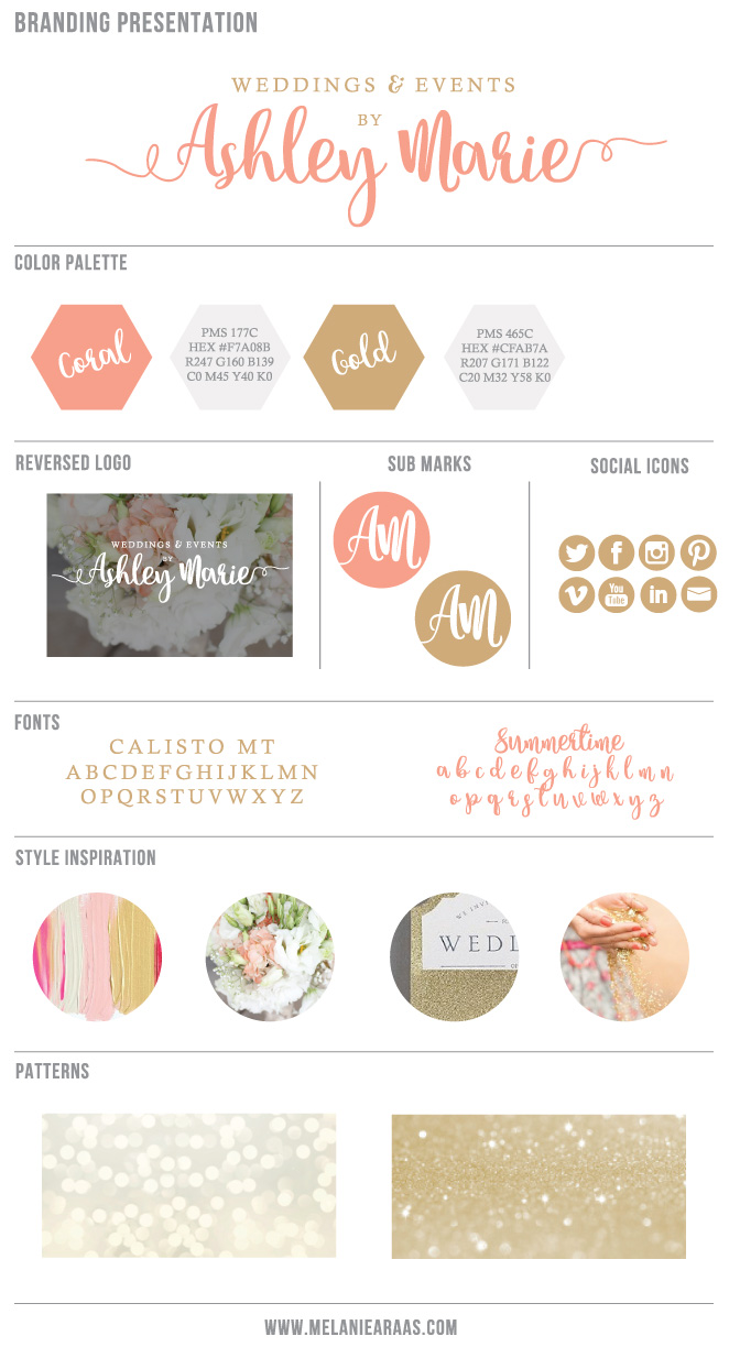 weddings and events by ashley marie branding board