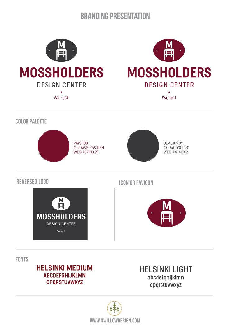 Mossholders Design Center Branding board