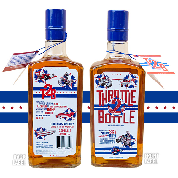 Throttle 2 Bottle front and back labels