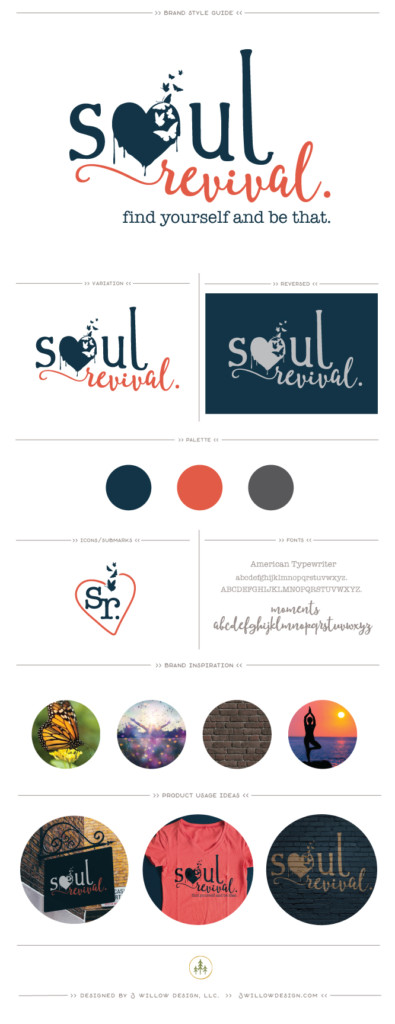 soul revival - yoga and art studio branding board