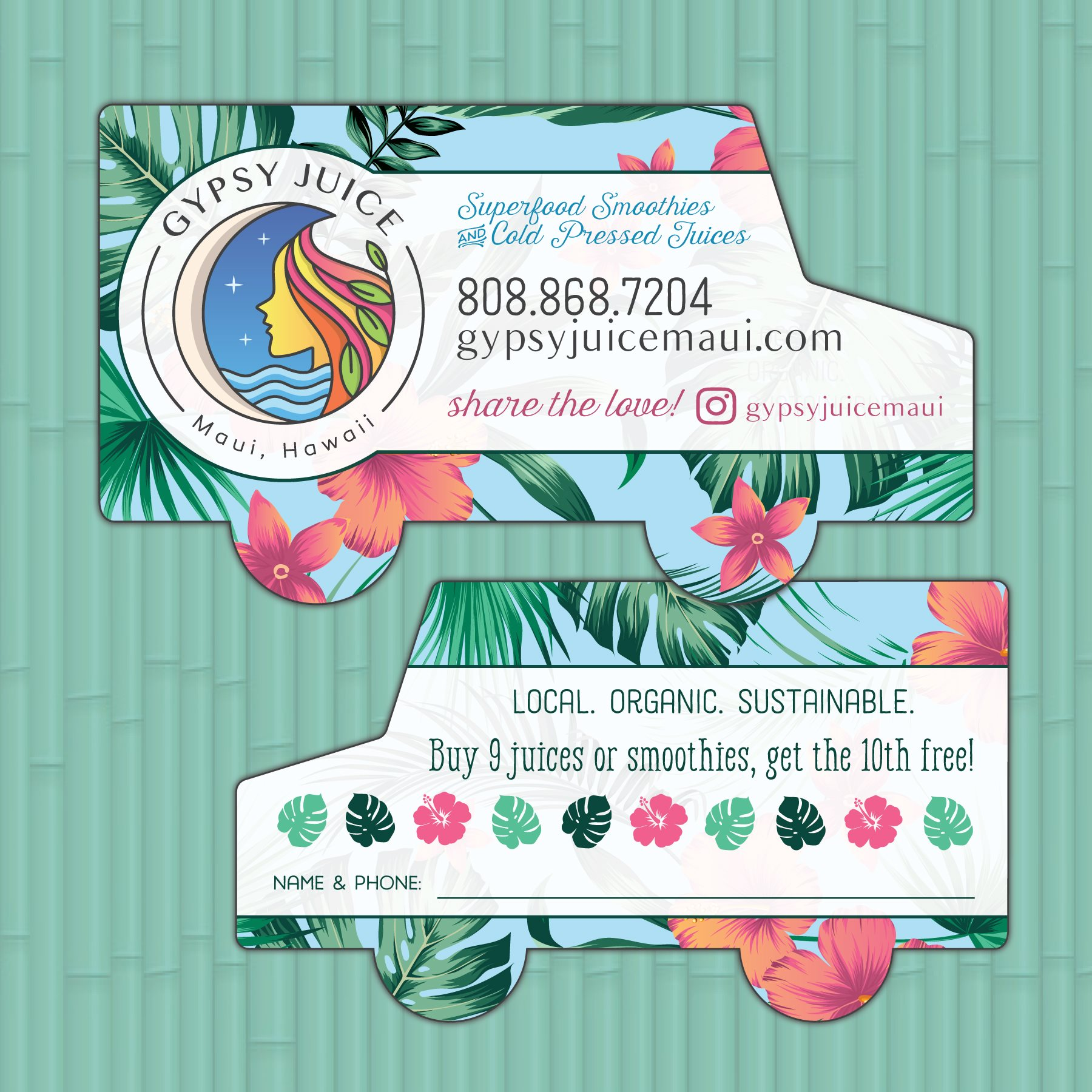 Gypsy Juice Maui - food truck shaped business cards