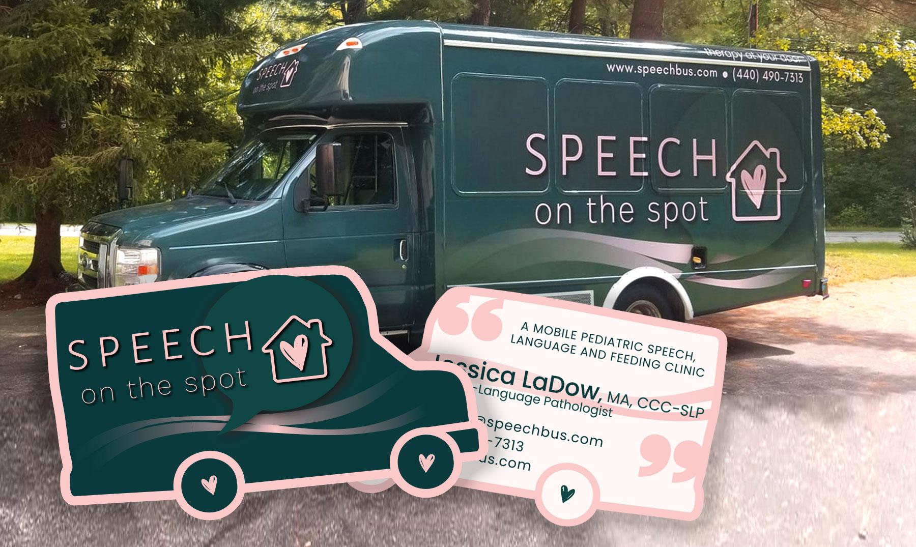 Speech Bus, Speech on the spot shaped die cut business cards